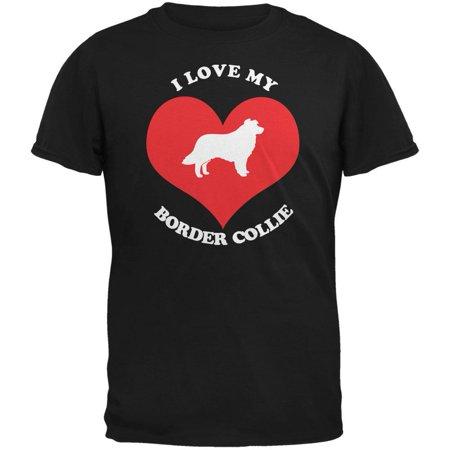 Valentines I Love My Border Collie Black Adult T-Shirt