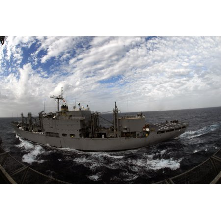 (LAMINATED POSTER The Military Sealift Command combat stores ship USNS San Jose (T-AFS 7) steams alongside the Nimitz- Poster Print 24 x 36)