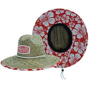Woman's Sun Hat, Straw Hat with Fabric Pattern Print Lifeguard Hat, Hibiscus, Beach, Ocean, Pool, Walking, and Outdoor, Summer Hat, Fits All, Malabar Hat Co
