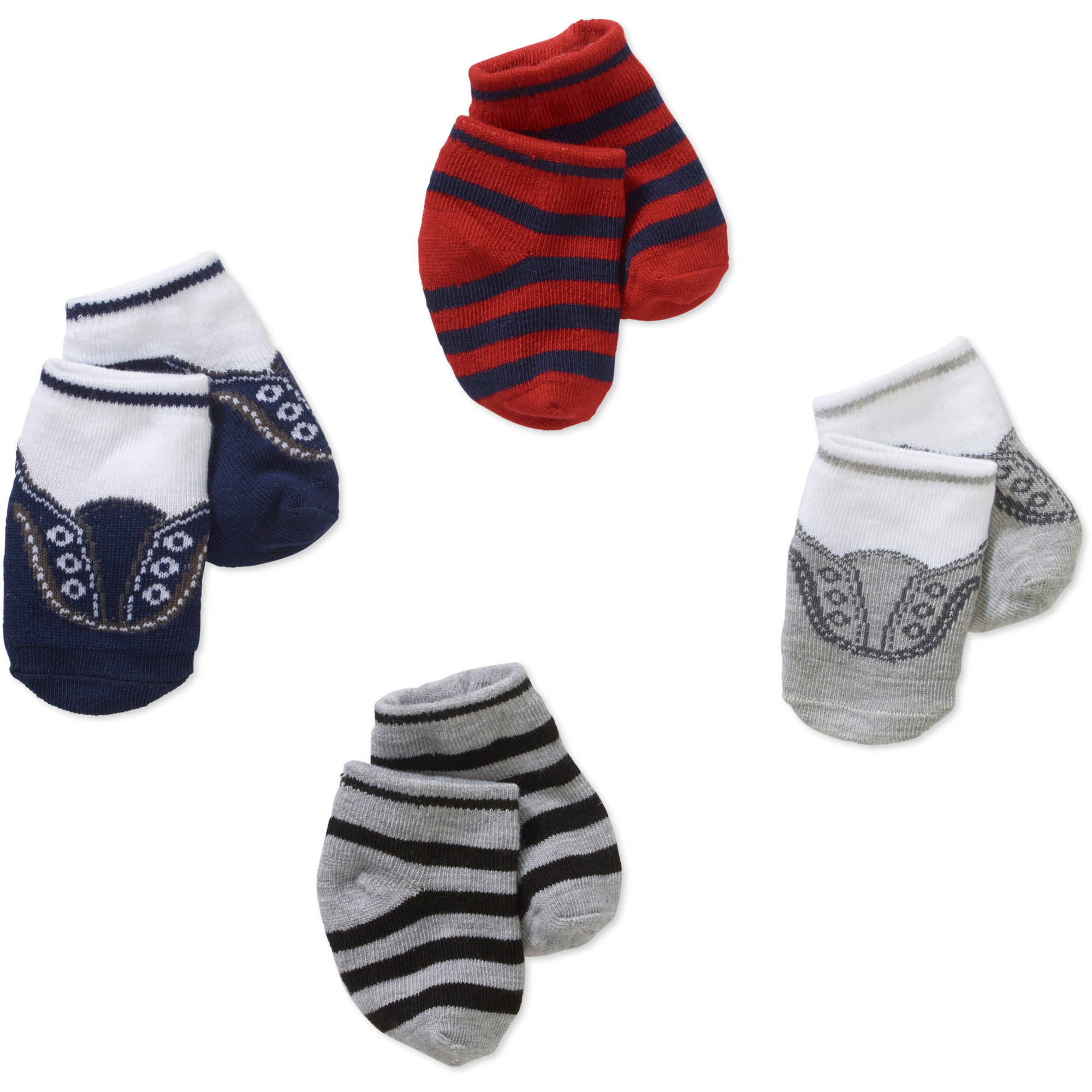 Newborn Baby Girl Stripes & Sneakers Socks Set - 4 Pack