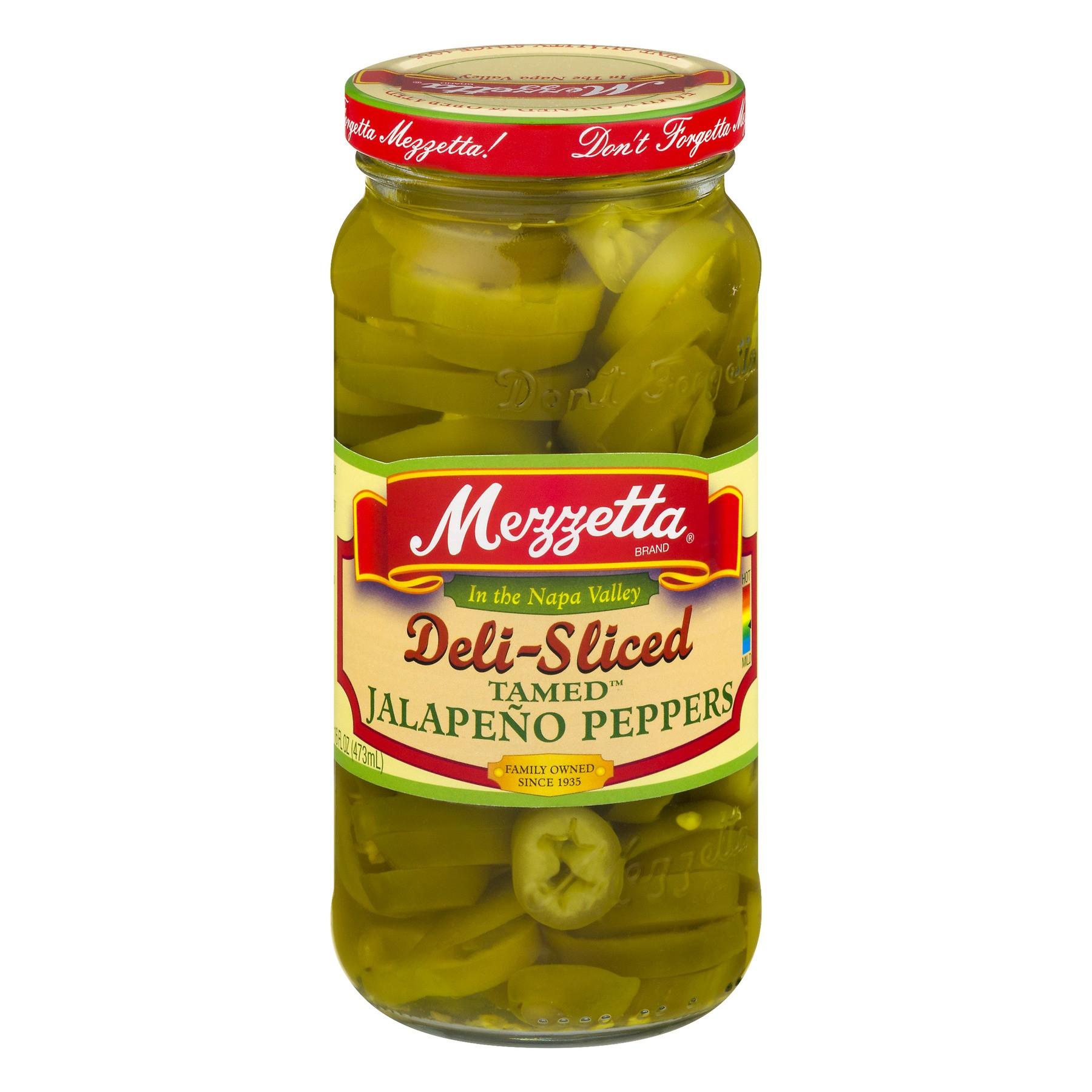 (6 Pack) Mezzetta Deli-Sliced Tamed Jalapeño Peppers, 16 Oz