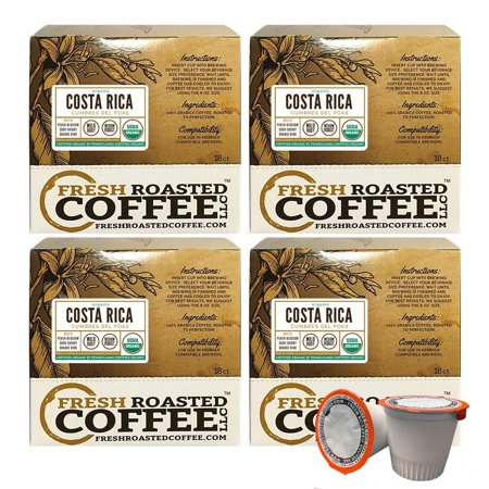 Fresh Roasted Coffee LLC, Organic Costa Rica Cumbres del Poas Coffee Pods, Medium Roast, USDA Organic, Capsules Compatible with 1.0 & 2.0 Single-Serve Brewers, 72 Count