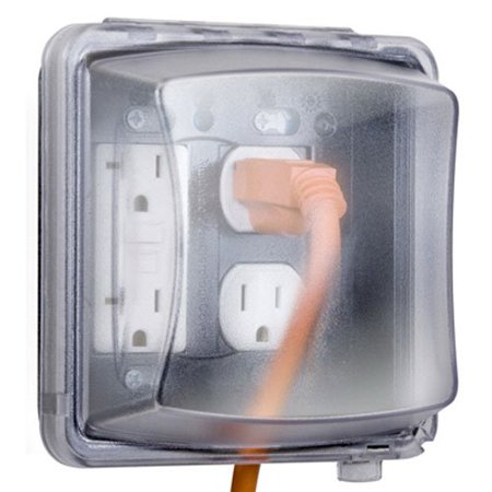 Mm2410c Weatherproof Double Outlet Cover Outdoor Receptacle Protector 2 3 Inches Deep