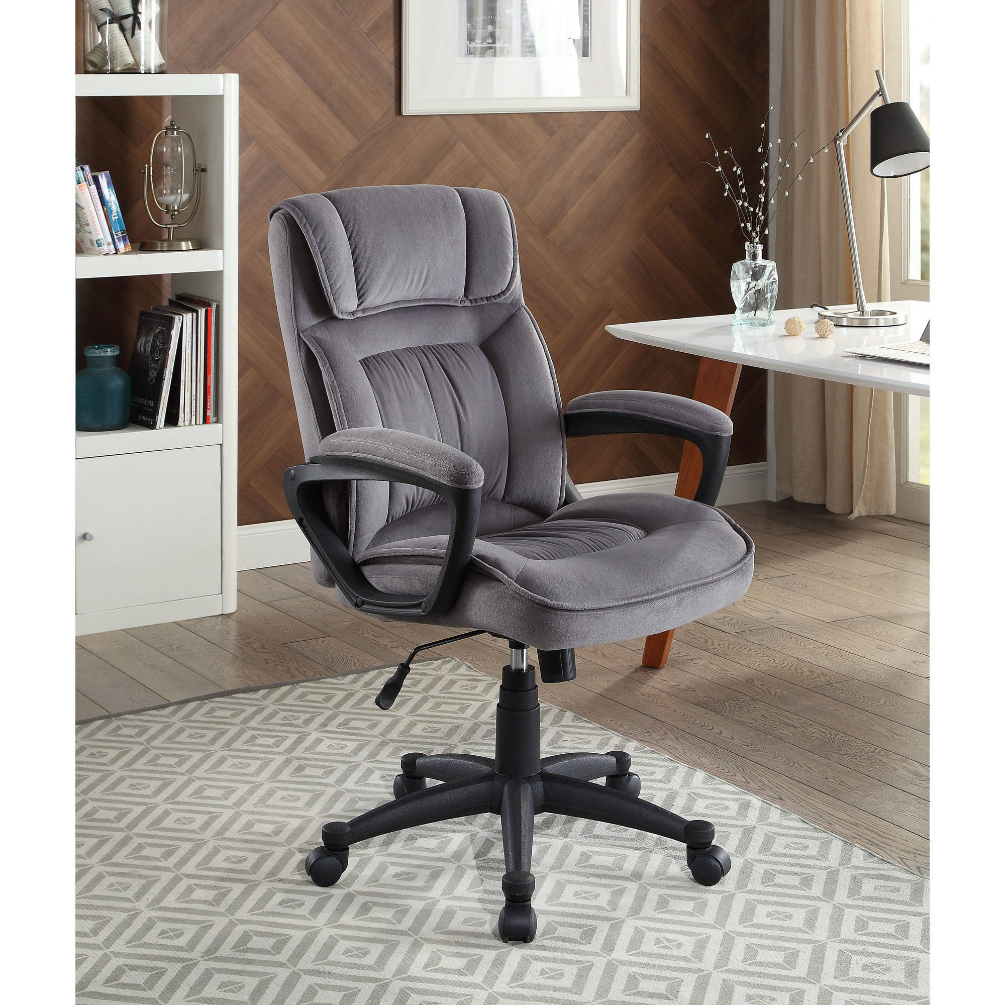 Serta Executive fice Chair in Velvet Gray Microfiber Black Base