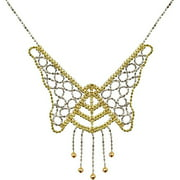 Beaded Butterfly Sterling Silver and 10kt White and Yellow Gold Necklace, 17""