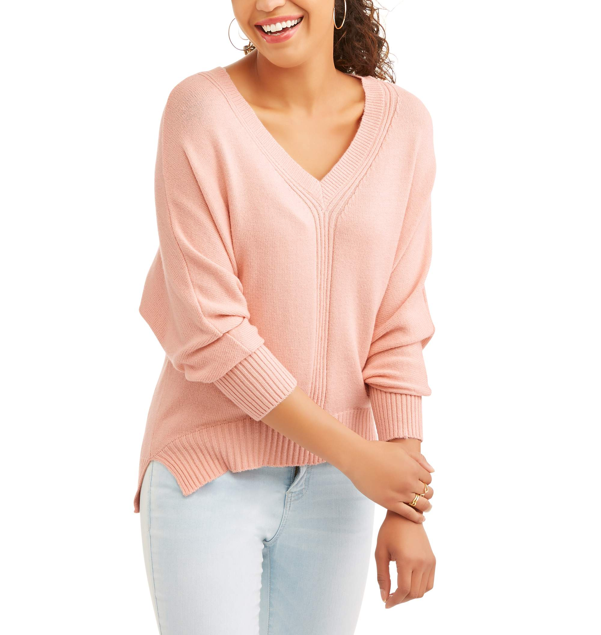 Poof! Juniors' Exra Soft Yarn Long Sleeve V-Neck Hi-Low Sweater