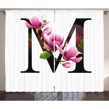 Floret 3 Light - Letter M Curtains 2 Panels Set, Magnolia Florets Dignity and Nobility Expressing Flowers in Alphabet Design, Window Drapes for Living Room Bedroom, 108W X 90L Inches, Pink Green Black, by Ambesonne