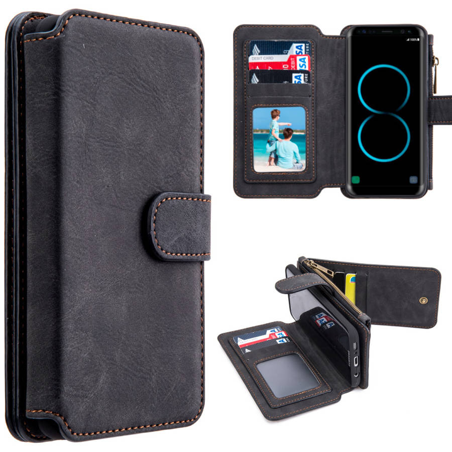 Executive Luxury Flip Wallet Case for Samsung Galaxy Galaxy S8, Perfect Fit