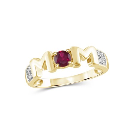 1/3 Carat T.G.W. Ruby And White Diamond Accent 14K Gold over Silver Mother Ring