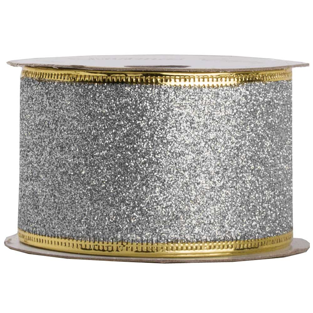JAM Paper Holiday Ribbon, 2 x 3 yards, SIlver Glitter, Sold Individually