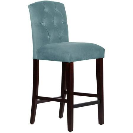 Skyline Furniture Tufted Bar Stool In Regal Velvet Colonial Blue