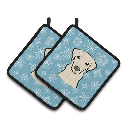 Snowflake Chocolate Labrador Pair of Pot Holders