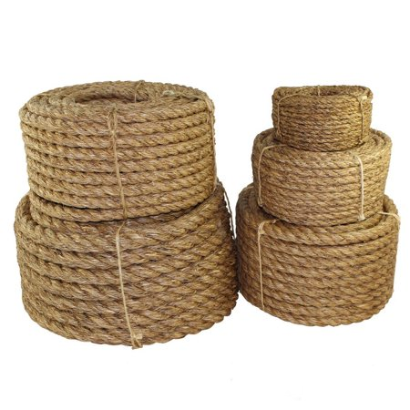 Twisted Manila Rope (5/8 inch) - SGT KNOTS - 3 Strand Natural Fiber Rope - Multipurpose Heavy Duty Utility Cord - Moisture and Weather Resistant - Commercial, Industrial, Outdoor, Home (Lead Rope Knot)
