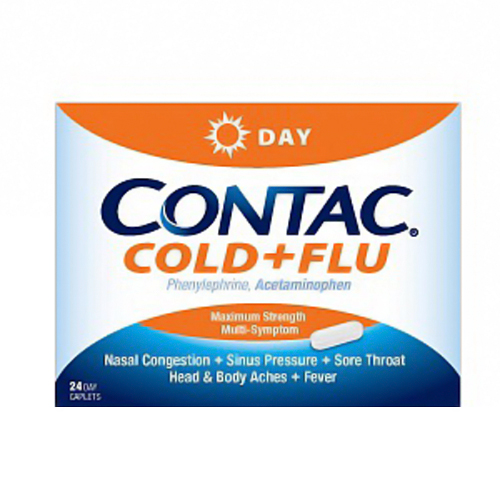 Contac Cold And Flu Non Drowsy Maximum Strength Day Formula Caplets - 8 Ea