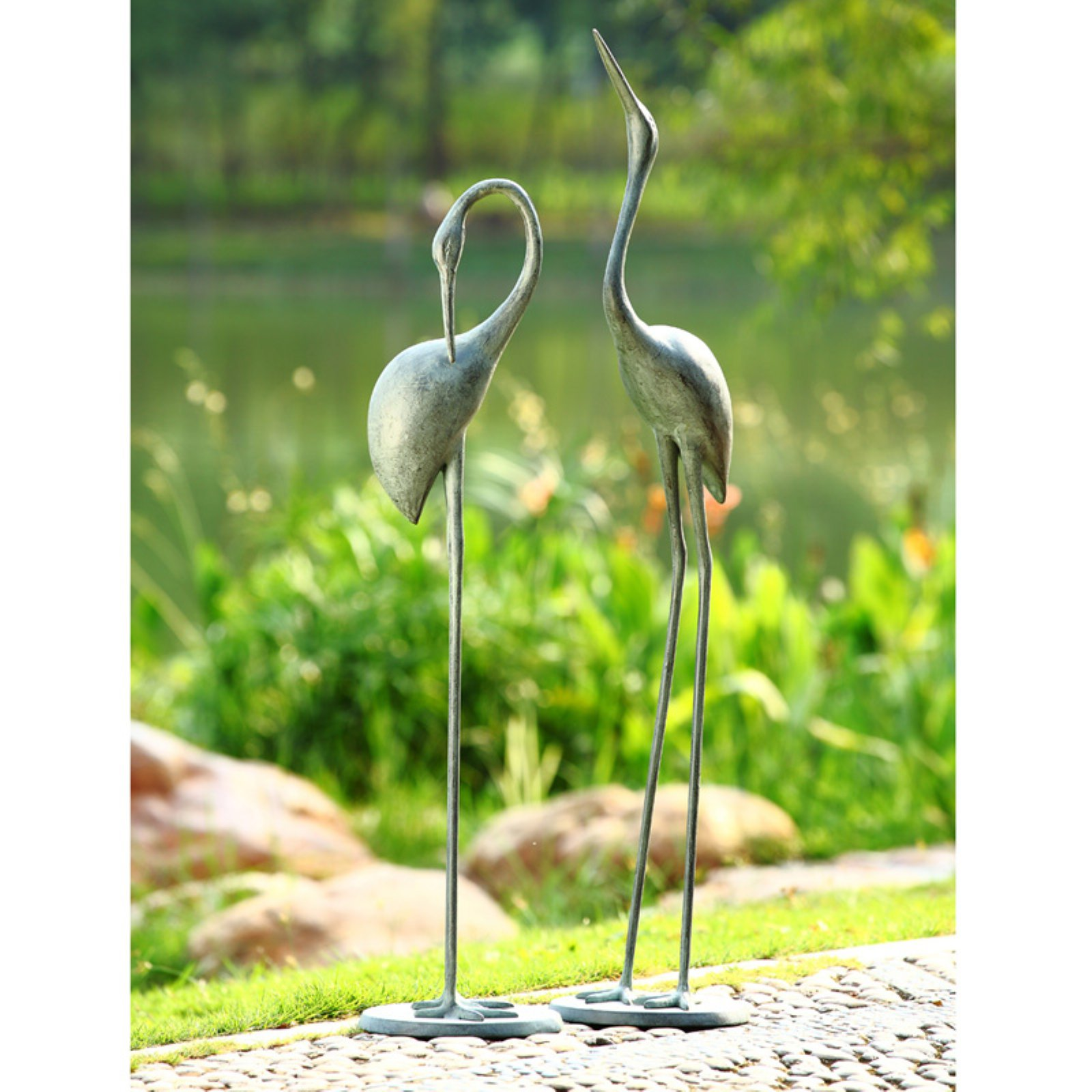 San Pacific International 2 Piece Contemplative Crane Garden Statue