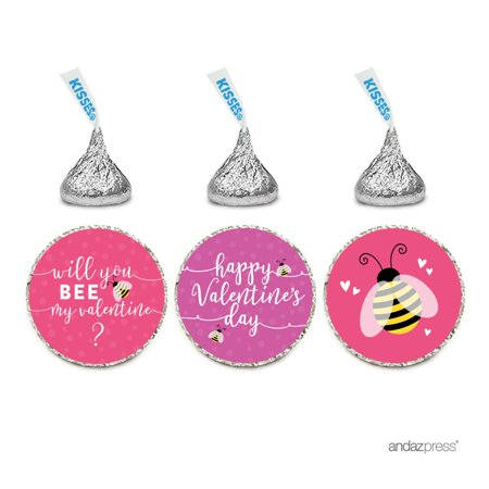 Chocolate Drop Labels Trio, Hershey's Kisses Party Favors, Happy Valentine's Day Will You Bee My Valentine? 216-Pack (Bee Valentine)