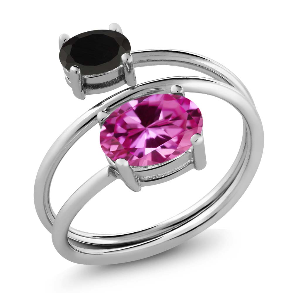 2.43 Ct Oval Pink Created Sapphire Black Onyx 925 Sterling Silver Ring