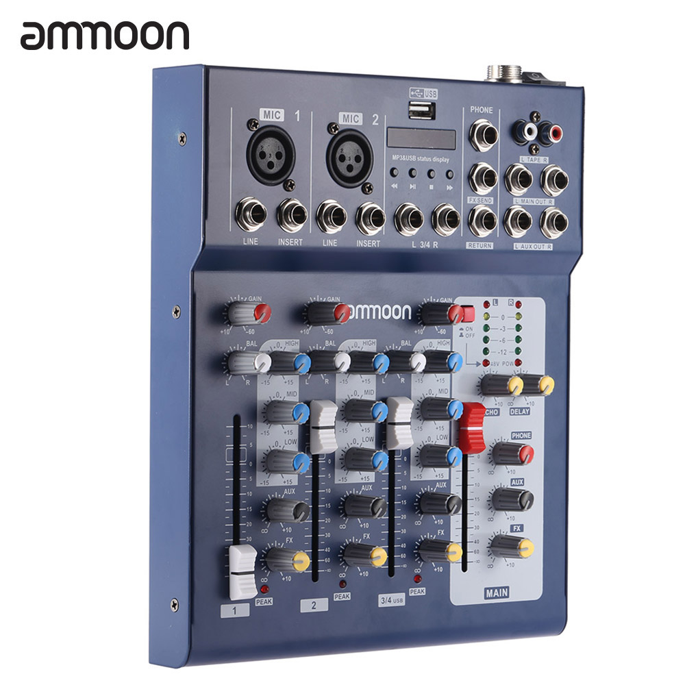ammoon F4-USB 3 Channel Digtal Mic Line Audio Mixing Mixer Console for Recording DJ Stage... by