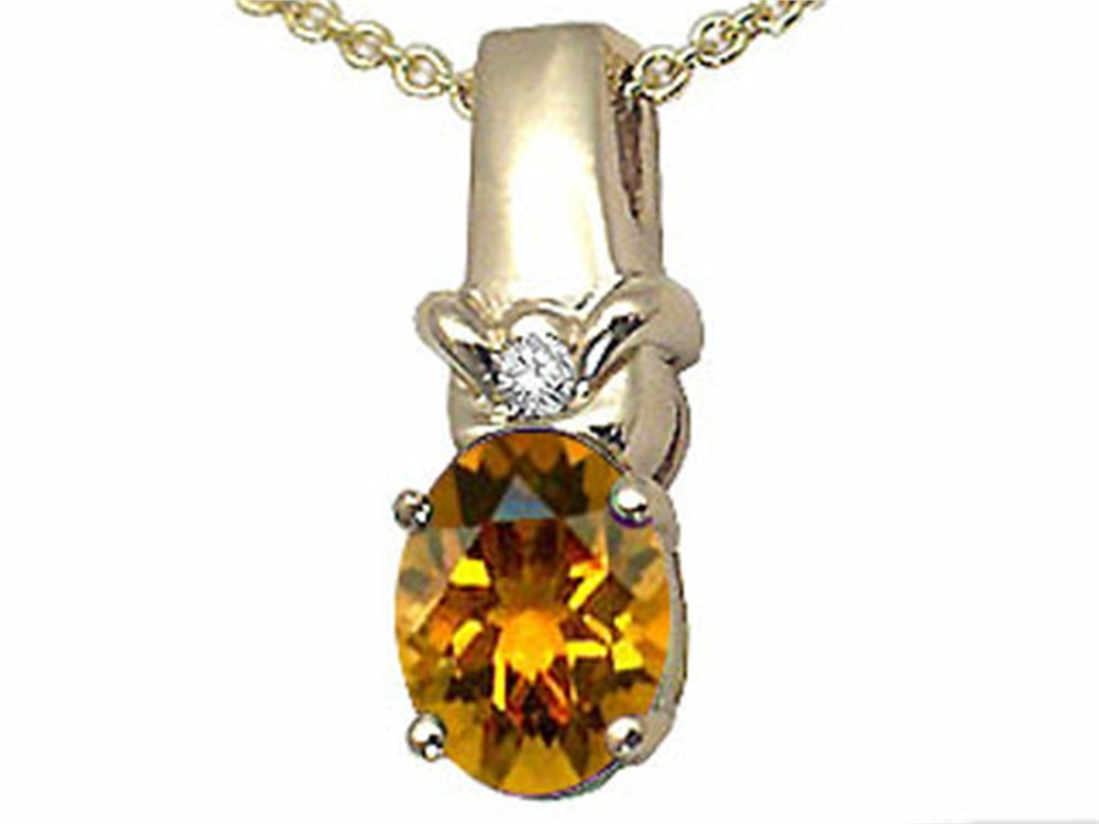 Tommaso Design Oval 8x6 mm Genuine Citrine Pendant Necklace by