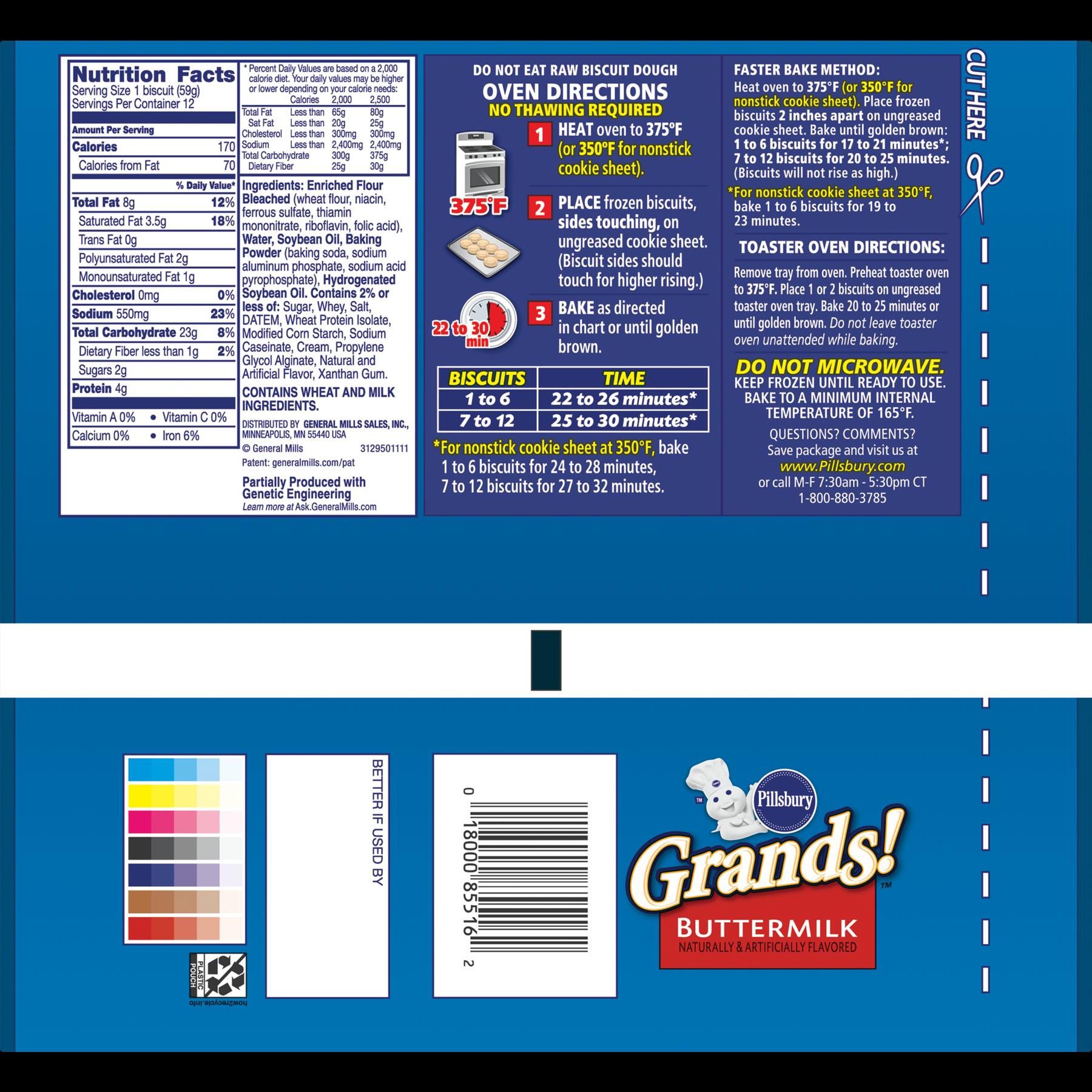 Pillsbury Grands Buttermilk Biscuits 12 Ct 25 Oz Walmart