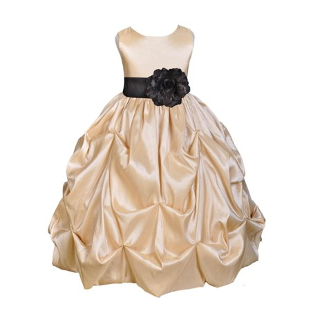 Ekidsbridal Taffeta Bubble Pick-up Champagne Flower Girl Dress Weddings Summer Easter Special Occasions Pageant Toddler Birthday Party Holiday Bridal Baptism Junior Bridesmaid Communion 301S - Taffeta Party Dress
