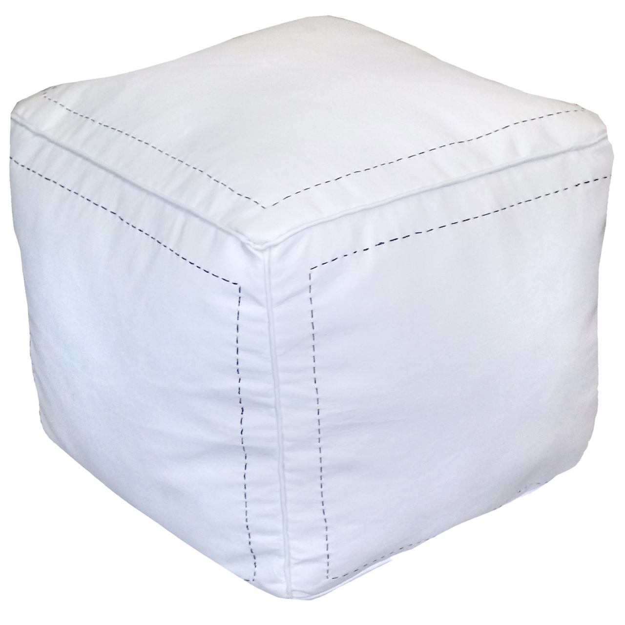 Miraculous Ikram Design Stuffed Square White Moroccan Leather Pouf 16 X 16 X 16 Walmart Com Gmtry Best Dining Table And Chair Ideas Images Gmtryco
