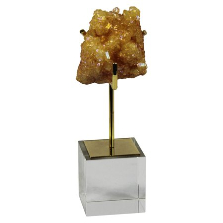 Golden Yellow Glass - Sagebrook Home Yellow Geode on Gold and Glass Base Decor