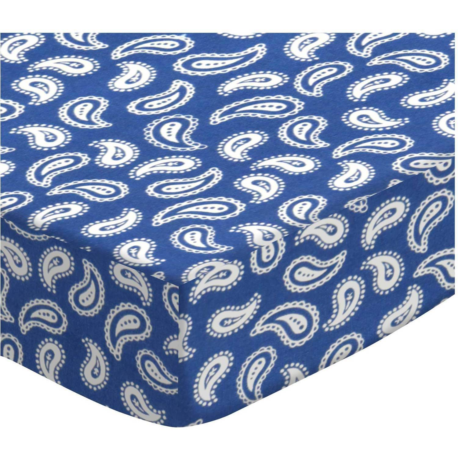 SheetWorld Fitted Bassinet Sheet - Primary Paisley White On Navy Woven (Choose Your Color)