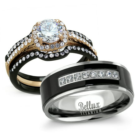 His and Hers Wedding Ring Sets - Women's Halo Design CZ Wedding Rings Sets & Men's Matching Wedding Bands