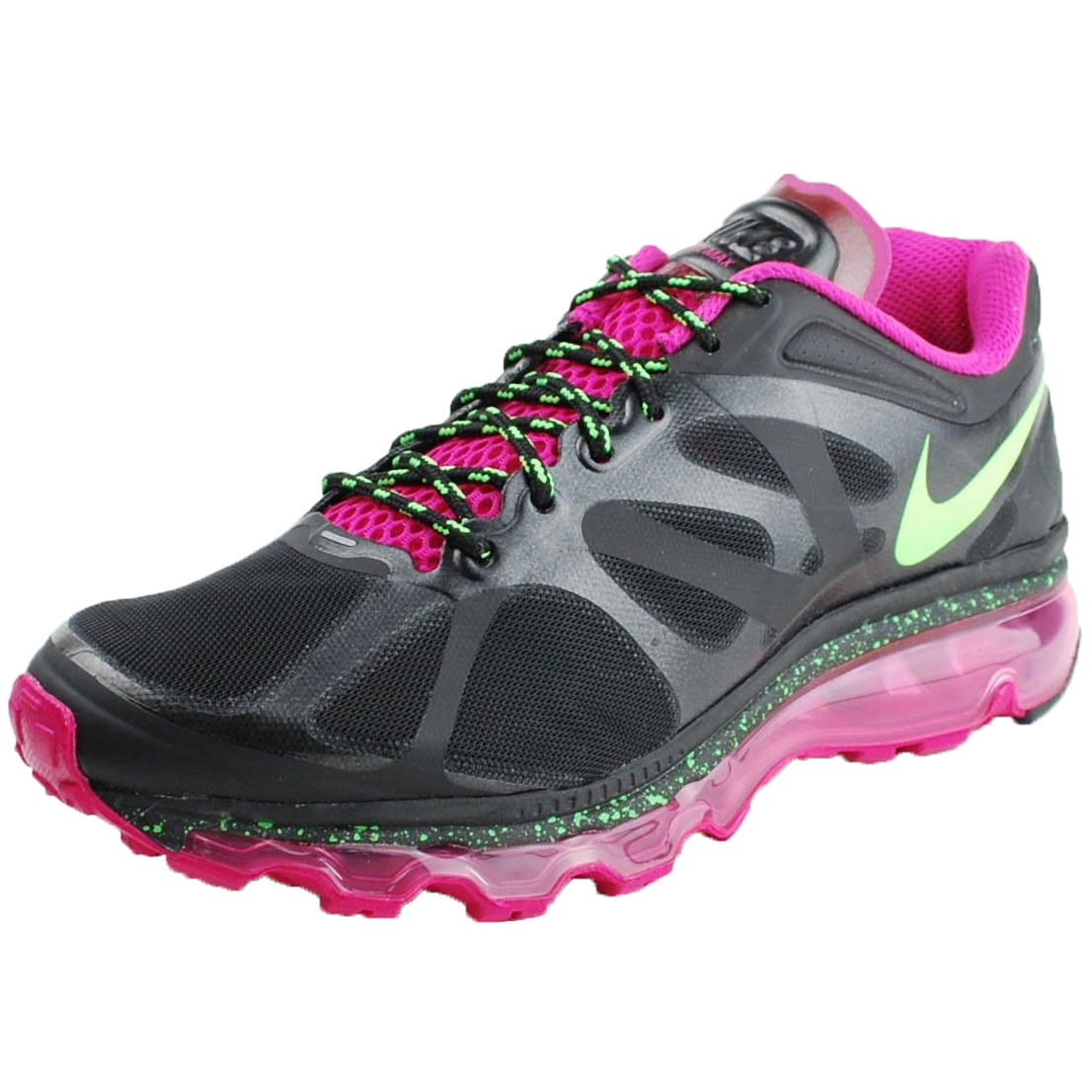 Nike WMNS AIR MAX+ 2012 RUNNING SHOES BLACK ELECTRIC GREE...