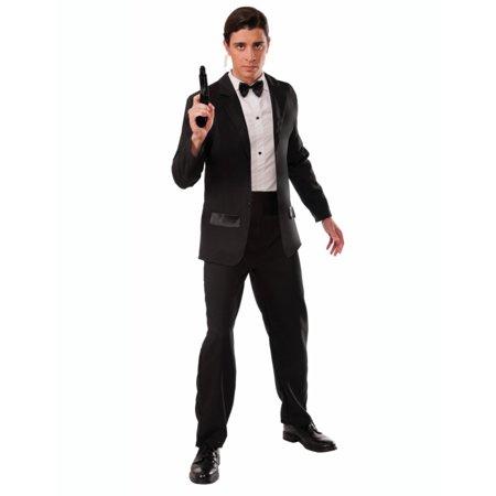 Adults Mens Black White Formal Butler Gentleman Tuxedo Black Tie Spy Costume
