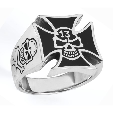 Stainless Steel Iron Cross Ring with skull (Available in Sizes 10 to 14) size 12