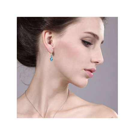3.30 Ct Oval Swiss Blue Topaz 14K Yellow Gold Earrings - image 1 of 3