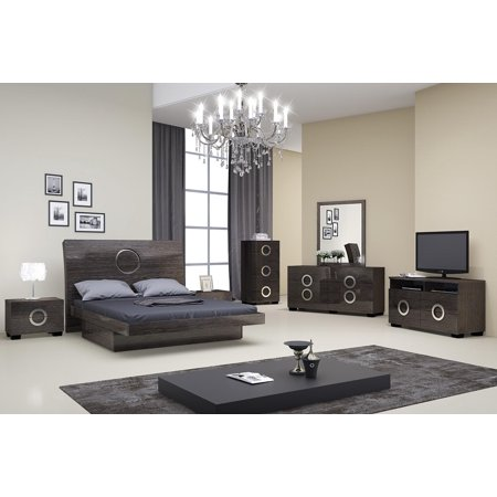 Monte Carlo Bedroom Furniture - Global Furniture Monte Carlo Gray High Gloss Finish King Bedroom Set 5Pcs