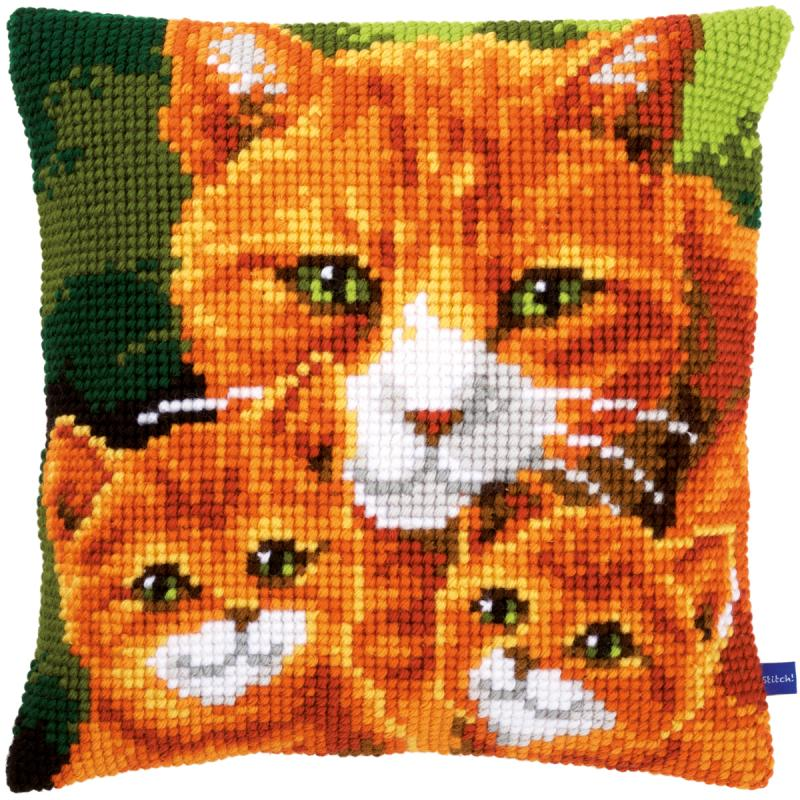 "Cats Family Cushion Cross Stitch Kit-16""x16"""