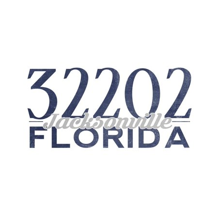 Jacksonville, Florida - 32202 Zip Code (Blue) Print Wall Art By Lantern Press (Halloween Jacksonville Florida)