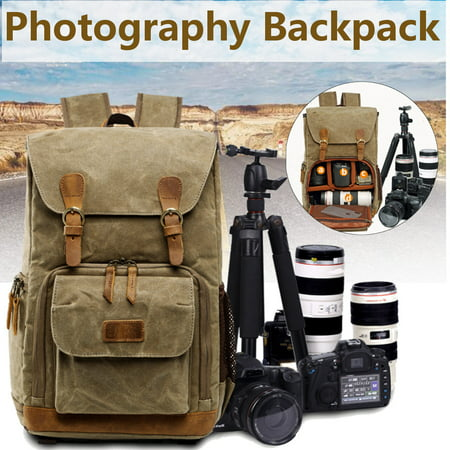 Fashion Camera Backpack Vintage Waterproof Photography Canvas Bag for Camera, Lens,Laptop and Accessories Travel
