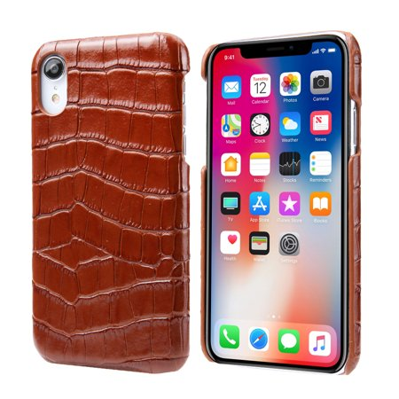 Genuine Crocodile Skin Leather (iPhone Xr Case, Allytech Genuine Leather Simple Crocodile Grain Design Hard Back Protective Case Lightweight Bumper Case Shock Resistant Cover for 6.1-inch iPhone Xr,)