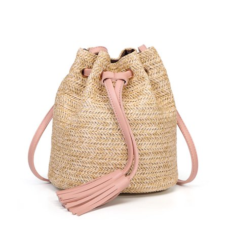 Straw Summer Bucket Bag Purse Weave Purse Handbag Fringe Bohemian Bag Pouch New ()
