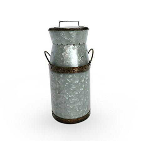 Barnyard Designs Rustic Galvanized Tin Milk Can, Jug | Vintage Rusty Distressed Farmhouse Vase, Country Primitive Home Decor, 11.75