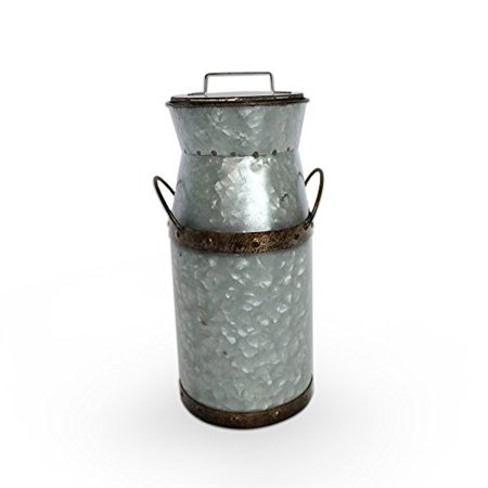 - Barnyard Designs Rustic Galvanized Tin Milk Can, Jug | Vintage Rusty Distressed Farmhouse Vase, Country Primitive Home Decor, 11.75