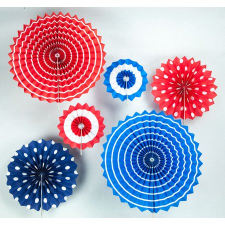 Quasimoon 4th of July Red, White and Blue Paper Flower Backdrop Party Wall Decoration Combo Kit by PaperLanternStore (4th Of July Party Favors)