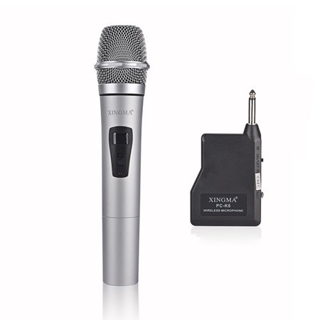 Rechargeable Wireless Microphone System Handheld LED Mic Speaker with Portable USB Receiver for KTV Speech Amplifier - Recording Lcd Receiver