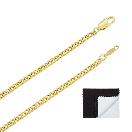 "3mm 14k Gold Plated Flat Cuban Link Curb Chain Necklace (16"" - 36"") or Bracelet (7"" - 9"")"