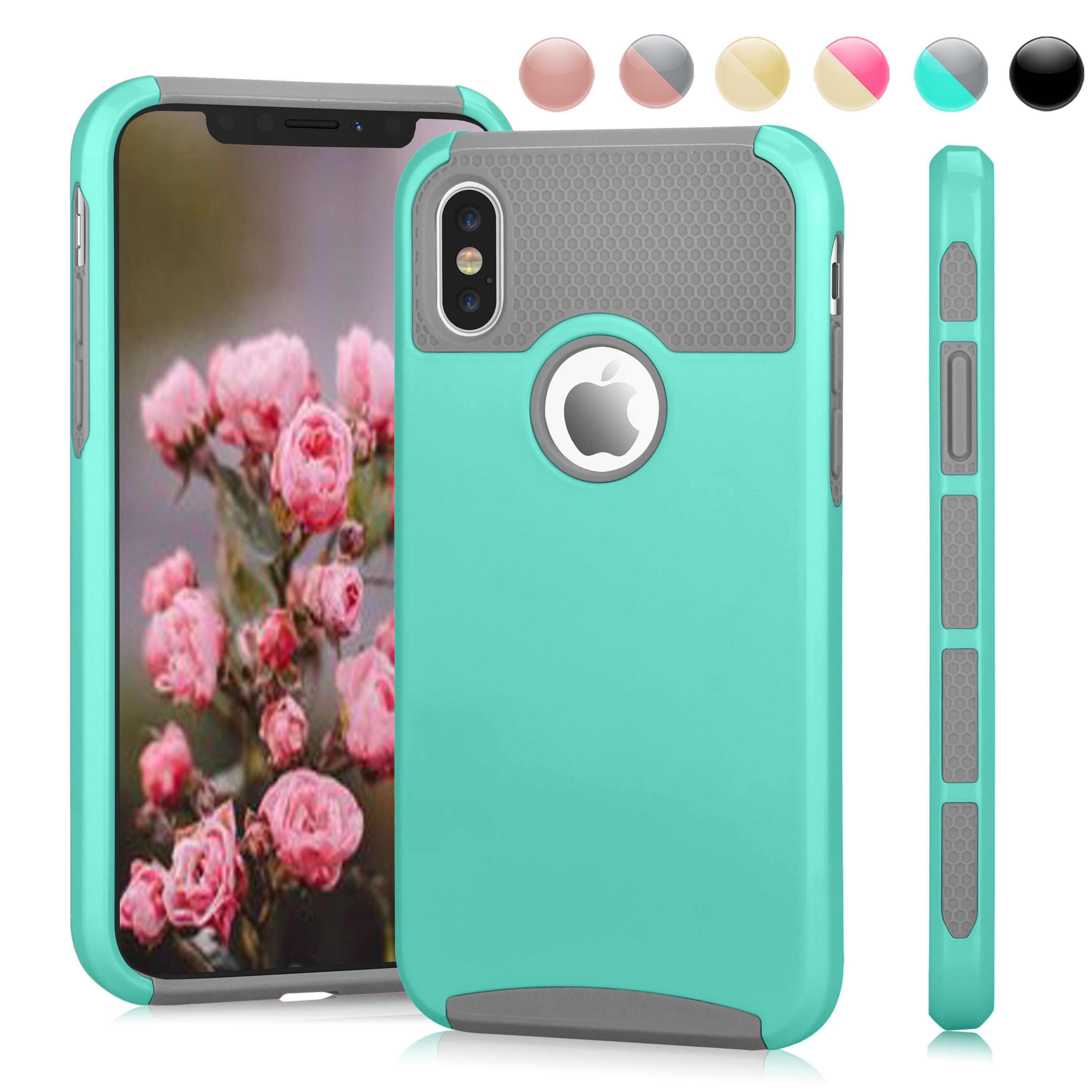iPhone X Case, iPhone X Cute Case,iPhone 10 Case, Njjex Hybrid Rugged Shockproof Armor High Impact Defender Full Protective Case Cover For Apple iPhone X 2017 Release -Mint