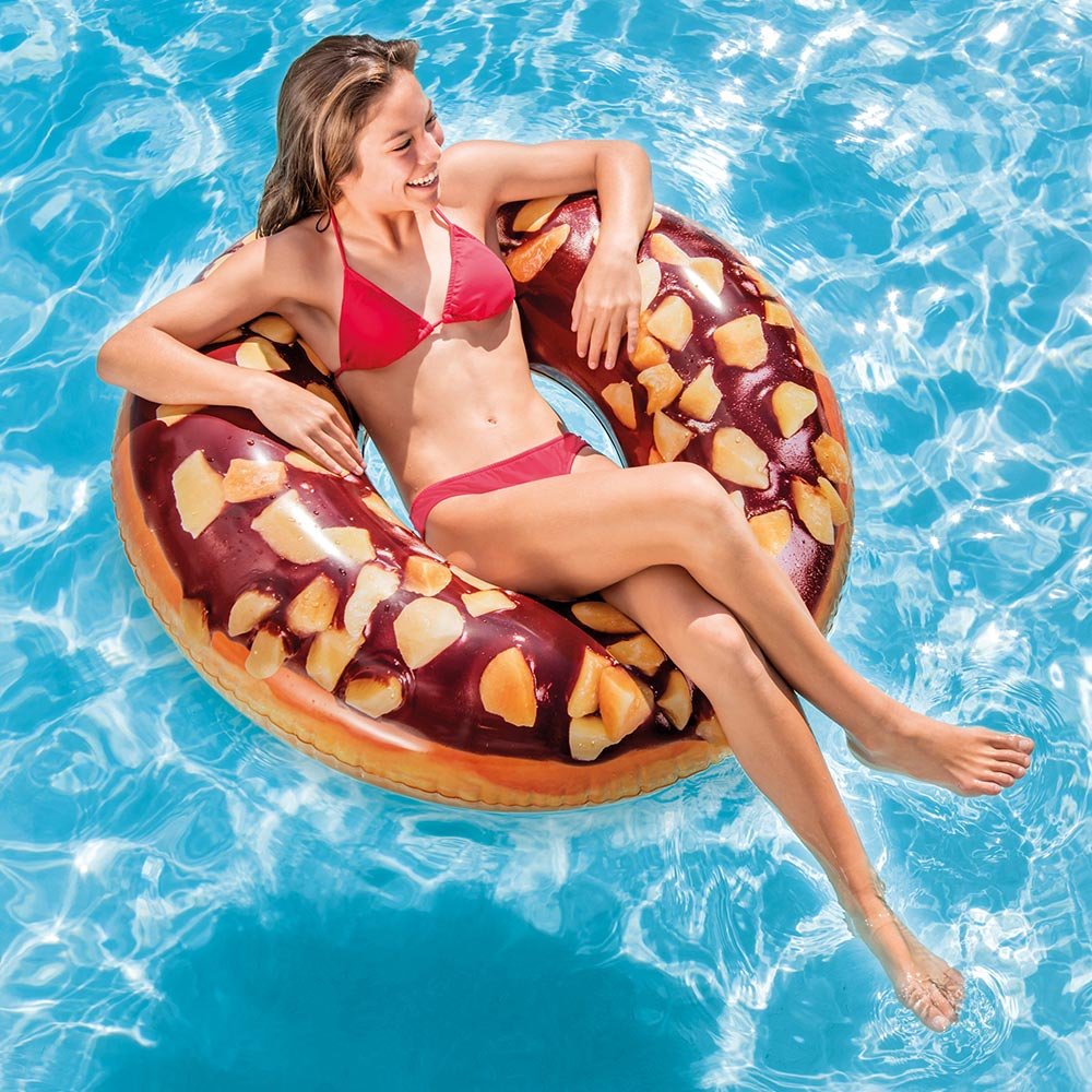 Intex Inflatable Nutty Chocolate Donut Pool Tube, 45""
