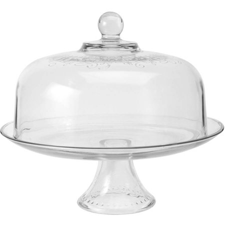 Anchor Hocking Aubriana Glass 2 Piece Cake Stand With