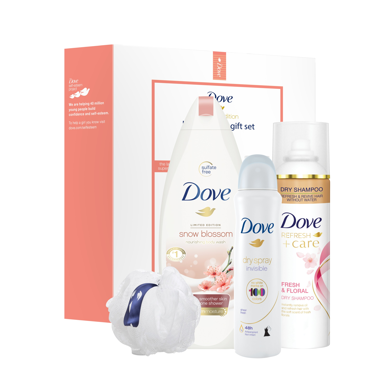 Dove 4-Pc Beauty Lover Gift Set Fresh & Floral Coconut Blossom with BONUS Pouf (Body Wash, Dry Shampoo, Dry Spray)