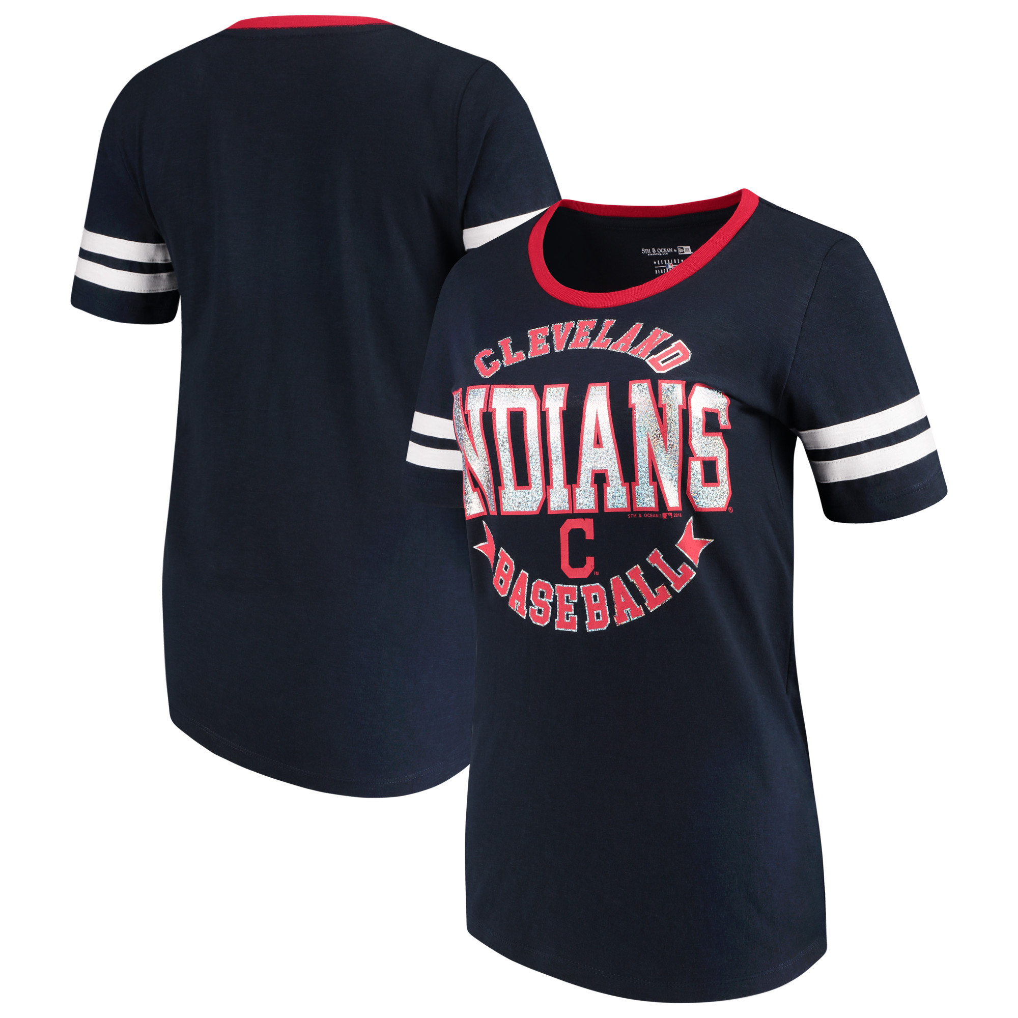 Cleveland Indians 5th & Ocean by New Era Women's Slub Jersey Scoop Neck Sleeve Stripes T-Shirt - Navy