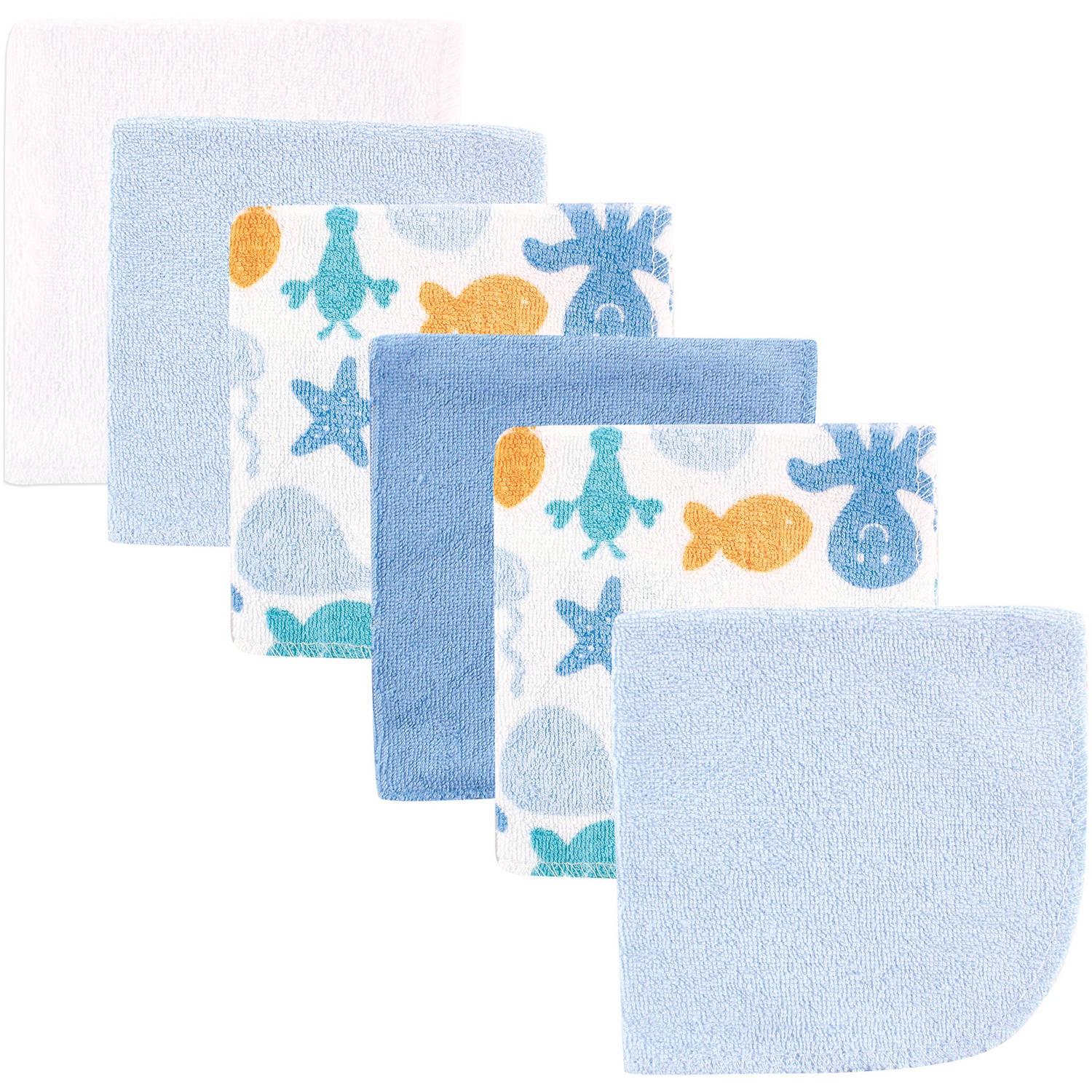 Luvable Friends Baby Washcloths, Blue, 6 Pack